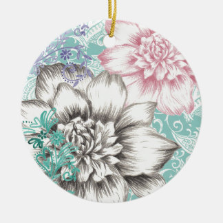 chrysanthemum floral design round ceramic decoration