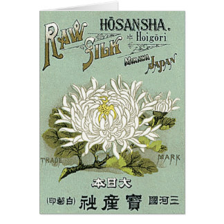 Chrysanthemum Flower Vintage Japanese Silk Label Card