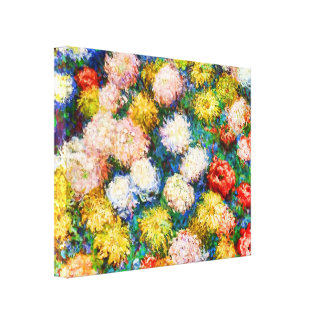 Chrysanthemum Flowers, Claude Monet Stretched Canvas Print