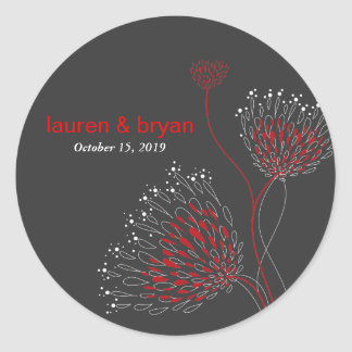 Chrysanthemum Flowers Floral Elegant Wedding Party Round Sticker