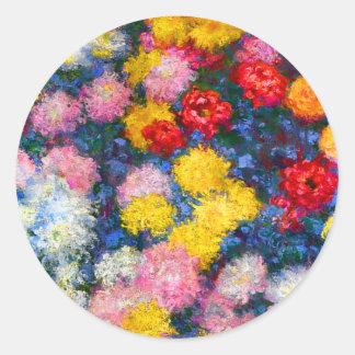 Chrysanthemum Flowers Monet Classic Round Sticker