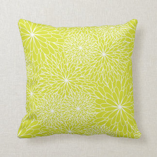 Chrysanthemum Lime Green Pillow