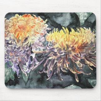 Chrysanthemum mum flowers watercolor painting mouse mat