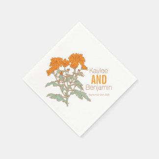 Chrysanthemum orange fall flower wedding napkins disposable serviette