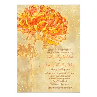 Chrysanthemum Orange Floral Wedding Invitation