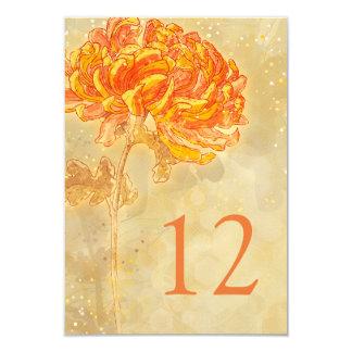 Chrysanthemum Orange Floral Wedding Table Number Card