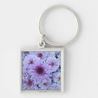 Chrysanthemum Purple White Keychain