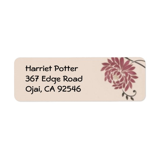 Chrysanthemum Vintage Wallpaper Return Address Label