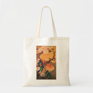 Chrysanthemums by a stream tote bags