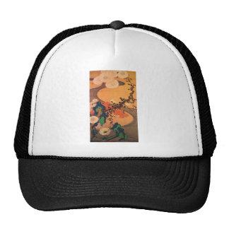 Chrysanthemums by a stream mesh hat