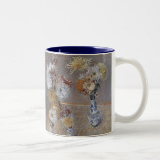 Chrysanthemums by Caillebotte, Vintage Fine Art Two-Tone Mug