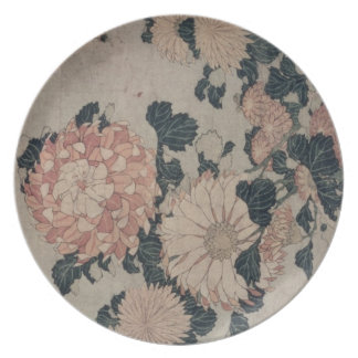 Chrysanthemums (colour woodblock) dinner plates