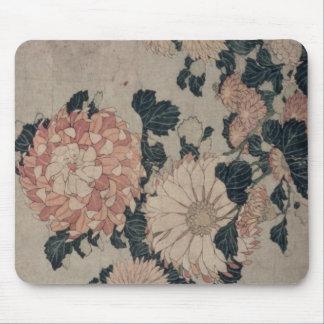 Chrysanthemums (colour woodblock) mouse mat