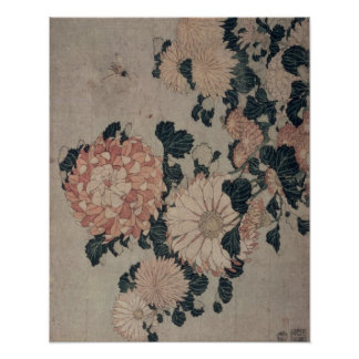 Chrysanthemums (colour woodblock) poster