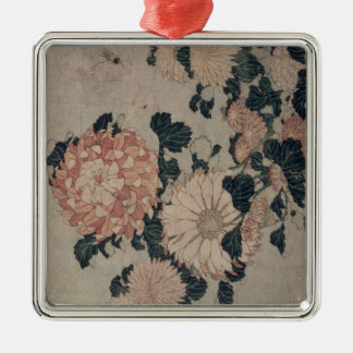 Chrysanthemums (colour woodblock) Silver-Colored square decoration