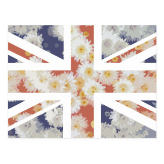 Chrysanthemums Flower Union Jack British(UK) Flag Postcard