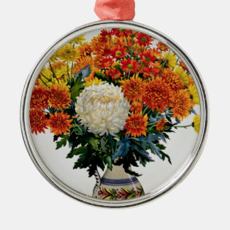 Chrysanthemums in a patterned jug 2005 christmas ornament
