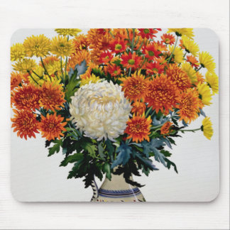 Chrysanthemums in a patterned jug 2005 mouse pad