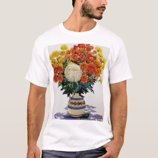 Chrysanthemums in a patterned jug 2005 T-Shirt