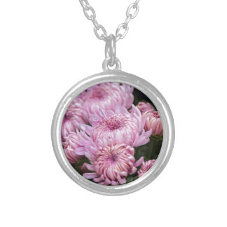 chrysanthemums in the garden silver plated necklace