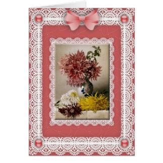 Chrysanthemums 'n Lace Greetings Card