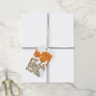 Chrysanthemums orange floral gift tags