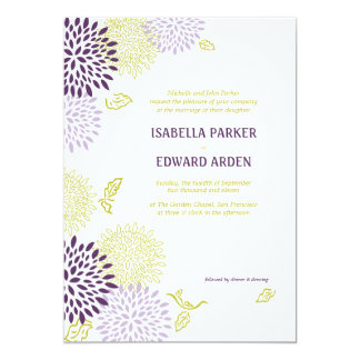 Chrysanthemums Wedding Invitation 5 x 7