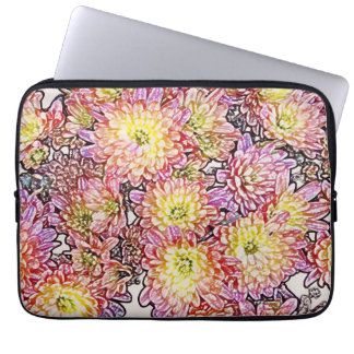 """Chrysanthemums Within the Lines 13"""" Laptop Sleeve"""