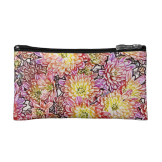 Chrysanthemums Within the Lines Bagettes Cosmetics Bags