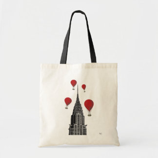 Chrysler Building and Red Hot Air Balloons Budget Tote Bag