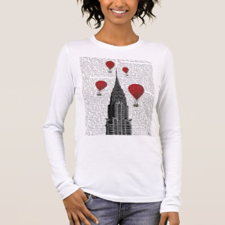 Chrysler Building and Red Hot Air Balloons Long Sleeve T-Shirt