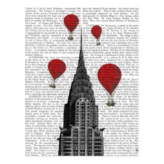 Chrysler Building and Red Hot Air Balloons Postcard
