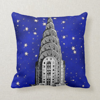 Chrysler Building Dome and a Starry Blue Sky Cushion