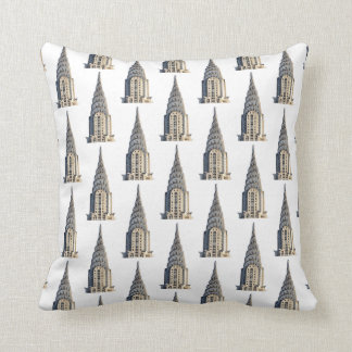 Chrysler Building Dome Pattern Black on White Cushion
