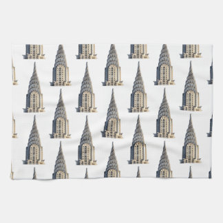 Chrysler Building Dome Pattern Black on White Tea Towel