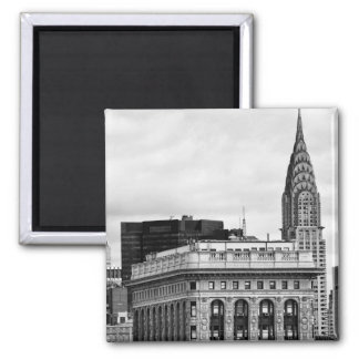 Chrysler Building, Flatiron, Clouds B&W Square Magnet