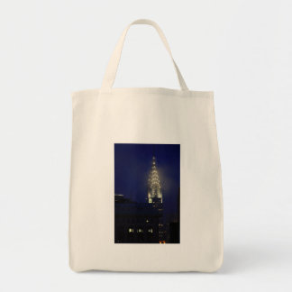 Chrysler Building Lit up at Dusk in the Mist Grocery Tote Bag