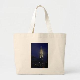 Chrysler Building Lit up at Dusk in the Mist Jumbo Tote Bag