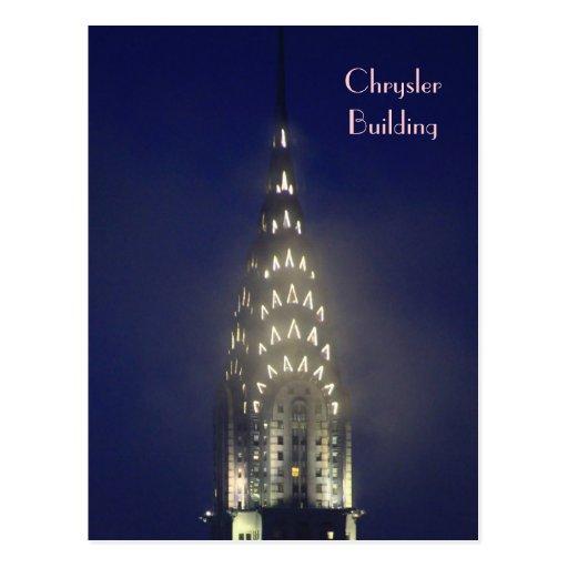 Chrysler Building Lit up at Dusk in the Mist Post Card