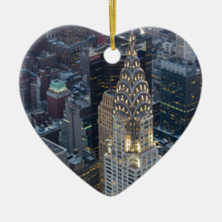 Chrysler Building New York City Aerial Skyline NYC Ceramic Heart Decoration
