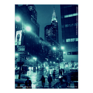 Chrysler Building NYC Blue Poster 18x24