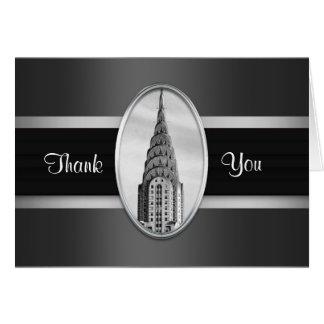 Chrysler Building Thank You Card Black Silver BW