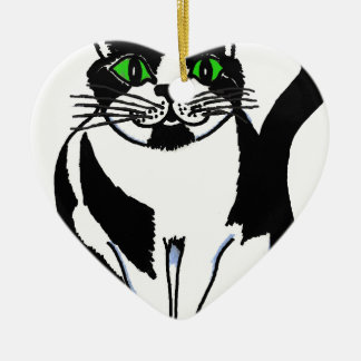 Chubby Black and White Cat Christmas Ornament