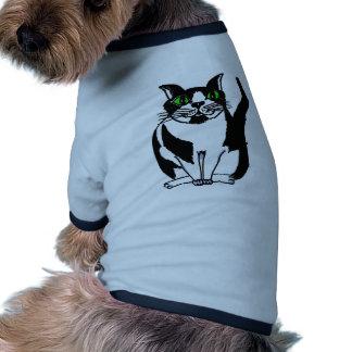 Chubby Black and White Cat Dog T-shirt