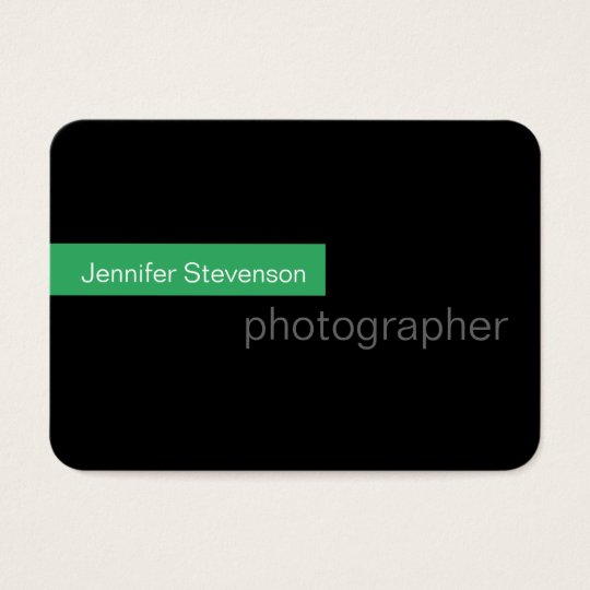 Chubby Black Green Round Photography Business Card