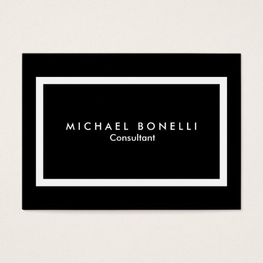 Chubby Black White Border Minimalist Business Card