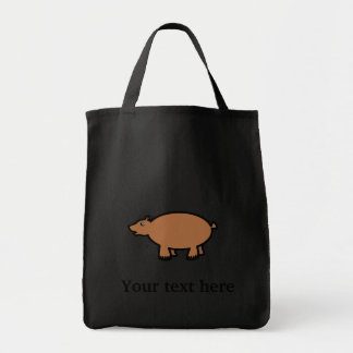 Chubby brown bear grocery tote bag