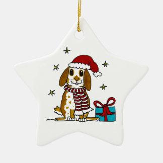 Chubby bunny Christmas design Ceramic Star Decoration
