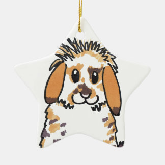 Chubby bunny 'Holly' Design Ceramic Star Decoration