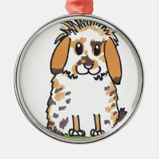 Chubby bunny 'Holly' Design Silver-Colored Round Decoration